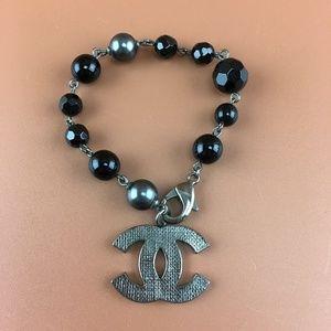 Preowned Chanel CC Ruthenium Pearl Beads Bracelet